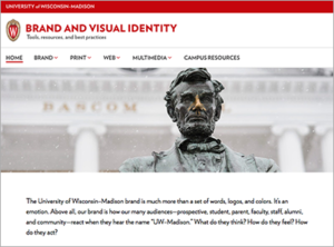 Homepage of UW–Madison's Brand and Visual Identity website.